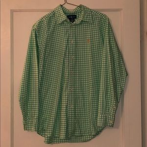 Ralph Lauren Green and White Check Button Down